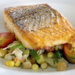 Food - Grilled Salmon on Mixed Greens