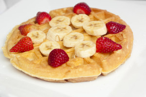 Waffle with Strawberries and Bananas