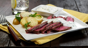 Flank Steak with Potatoes, Spicy Greens, and Herbed Horseradish