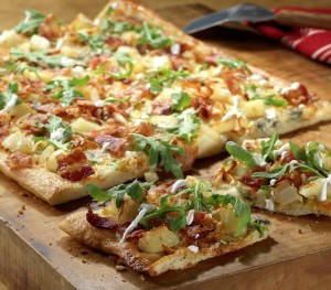 Flatbread with Potatoes, Blue Cheese, Bacon and Scallions