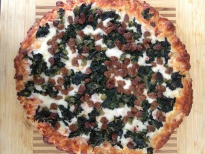 Pizza with Turkey Sausage, Spinach, and Pesto
