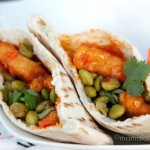 Orange Chicken Pita Pockets with Spicy Edamame