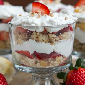 Strawberries and Cream Mini Biscuit Trifles