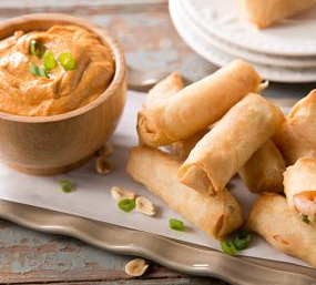 SeaPak Shrimp Spring Rolls with Spicy Peanut Dipping Sauce