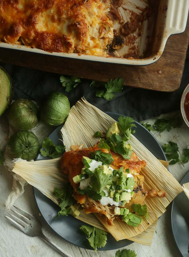 Black Bean Tamale, Chicken and Cheese Casserole