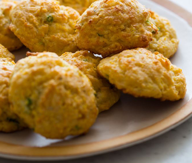 Almond Breeze Havarti and Green Onion Cornmeal Biscuits