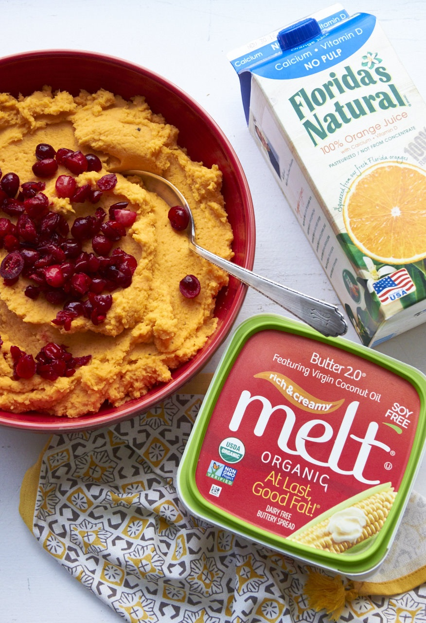 Mashed Sweet Potatoes with Orange Juice and Cranberries