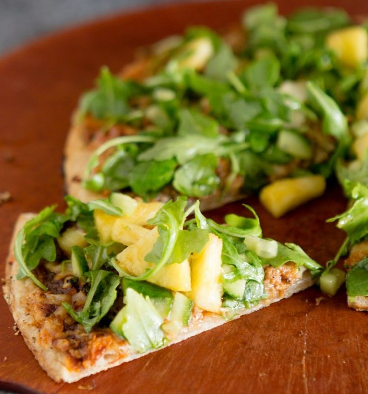Pulled Pork Pineapple & Jalapeno Flatbread Pizza topped with Watercress and BBQ Vinaigrette