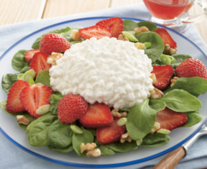 Strawberry, Spinach, & Cottage Cheese Salad