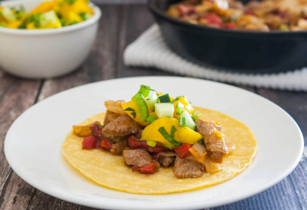 Steak Fajitas with Mango Salsa