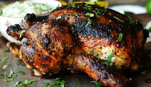 Whole Grilled Chicken with Citrus Butter with Avocado Yogurt