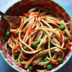 Cold Noodles with Peas and Peanut Sauce