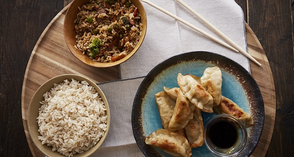 Chicken Potstickers, Pepper and Beef Rice and White Rice