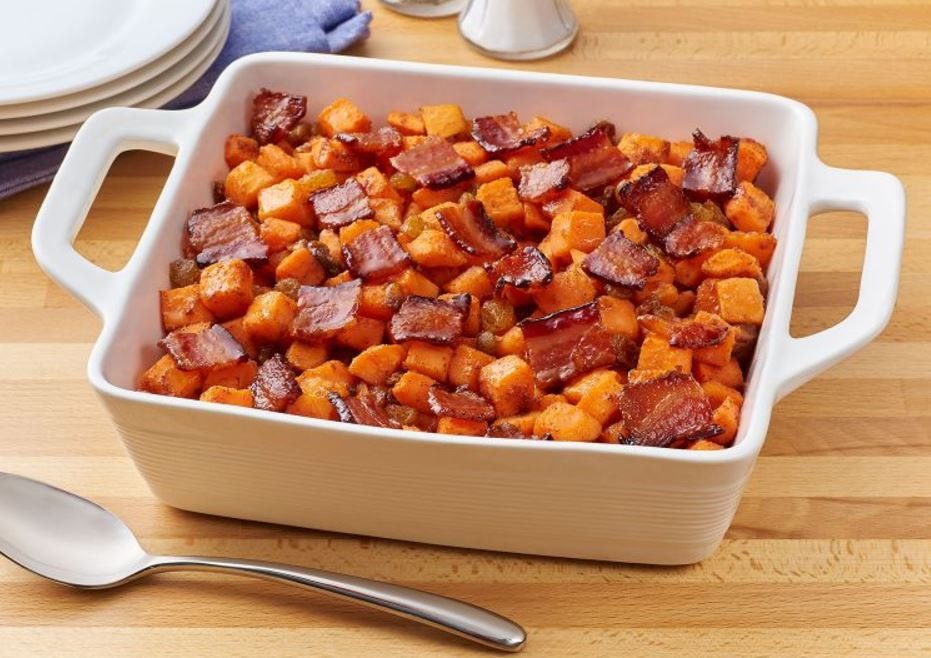 Candied Bacon Roasted Sweet Potatoes