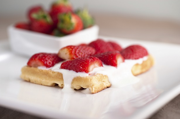 Strawberry-Topped Waffles with Sweet Cream Sauce