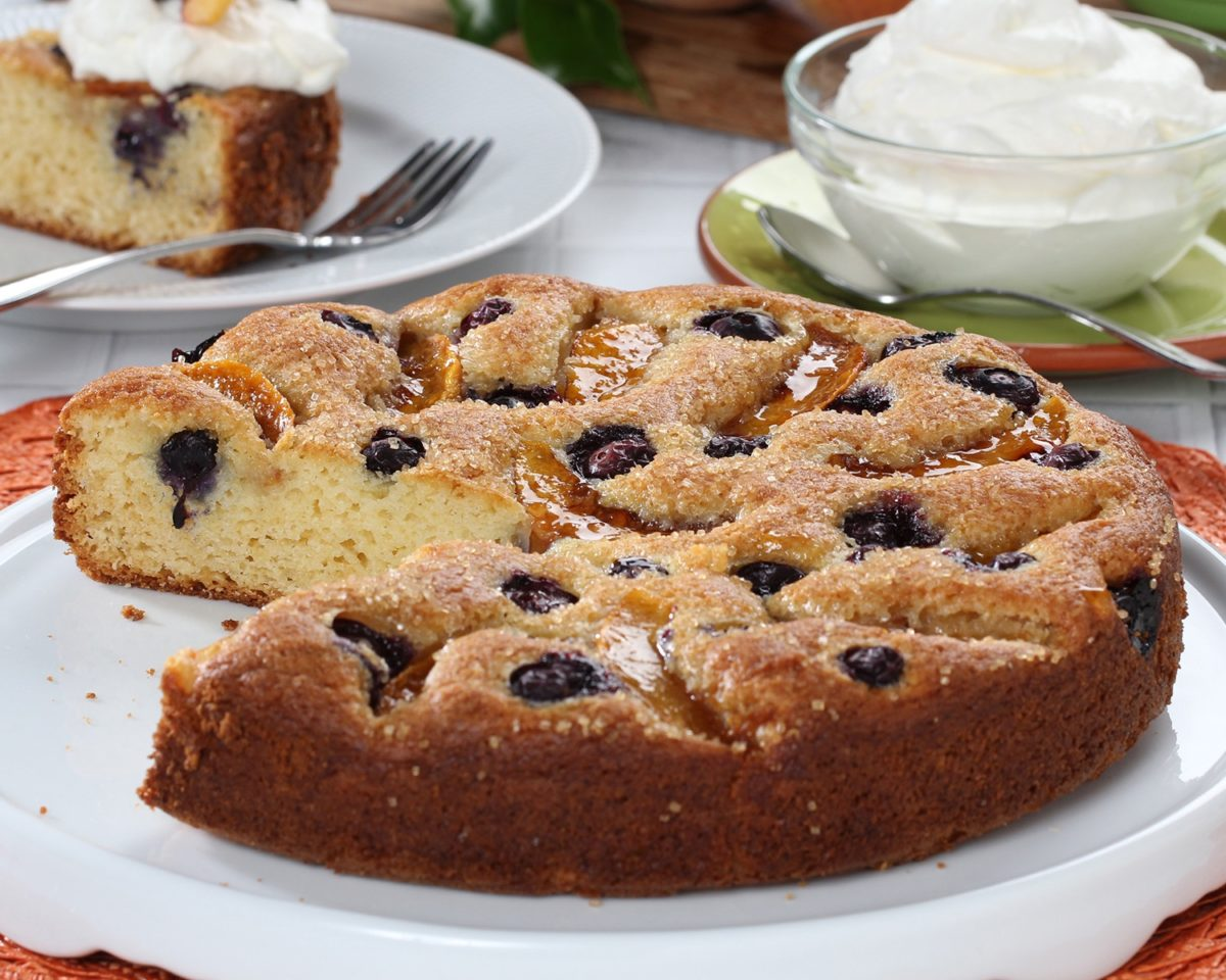 Blueberry Peach Yogurt Cake