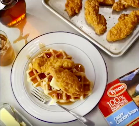Tyson Crispy Strips Chicken and Waffles