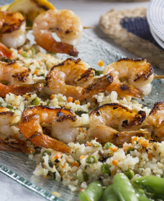 Spring Skewered Shrimp