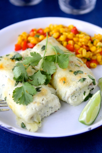 Smothered Chile and Cilantro Burritos