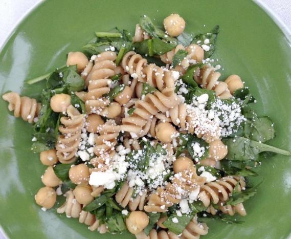 Chickpea Spinach Pasta Salad
