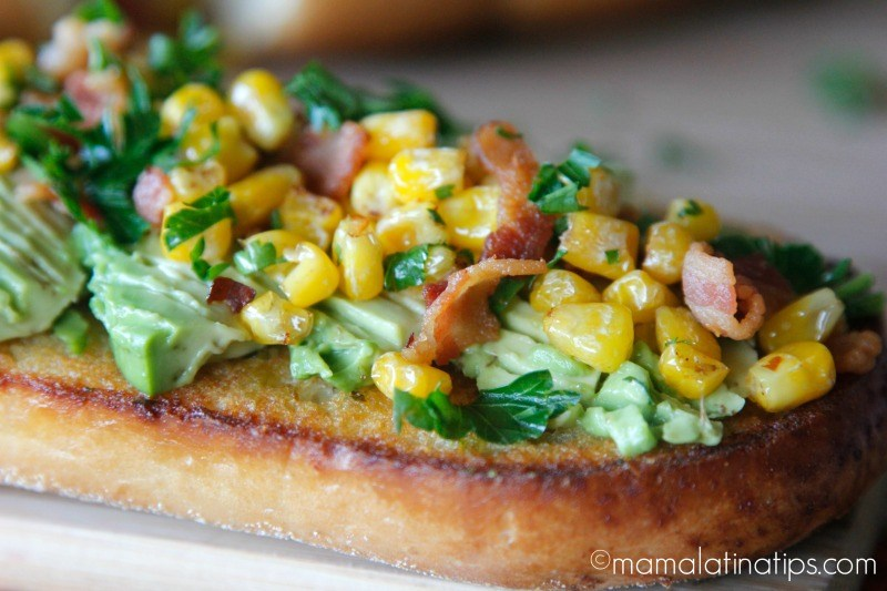 Bacon Avocado Garlic Toast with Corn