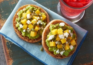 English Muffin with Mango and Avocado