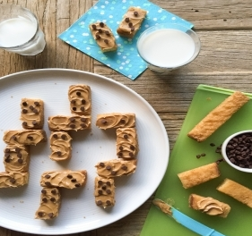 French Toast Sticks with Peanut Butter and Chocolate Chips