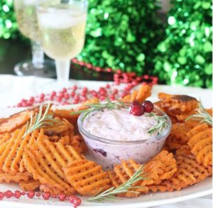Waffles Fries and Cranberry Dip