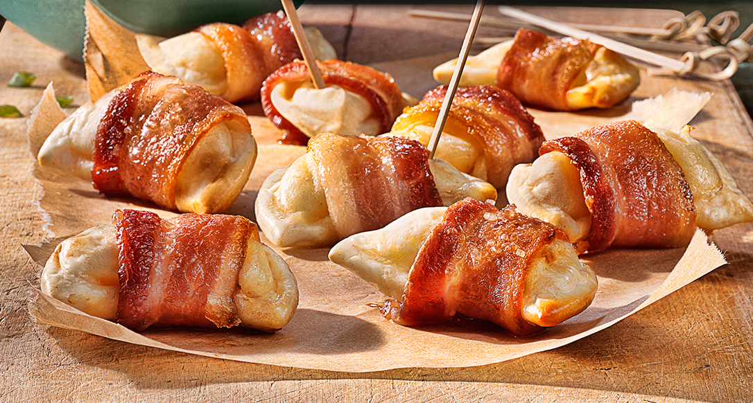 Bacon Wrapped Pierogies