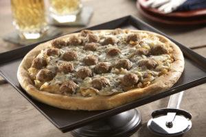 Rosina Onion, Gorgonzola and Meatball Pizza