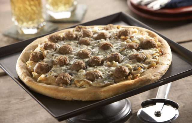 Rosina Onion, Gorgonzola and Meatball Pizza