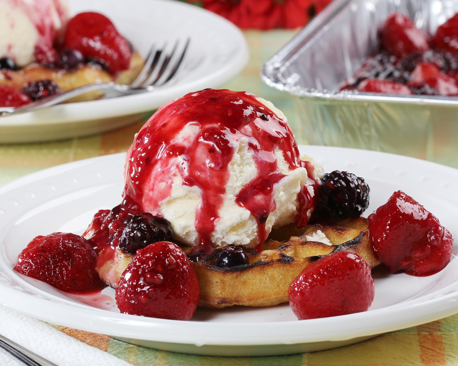 Grilled Waffle Sundae with Berry Sauce