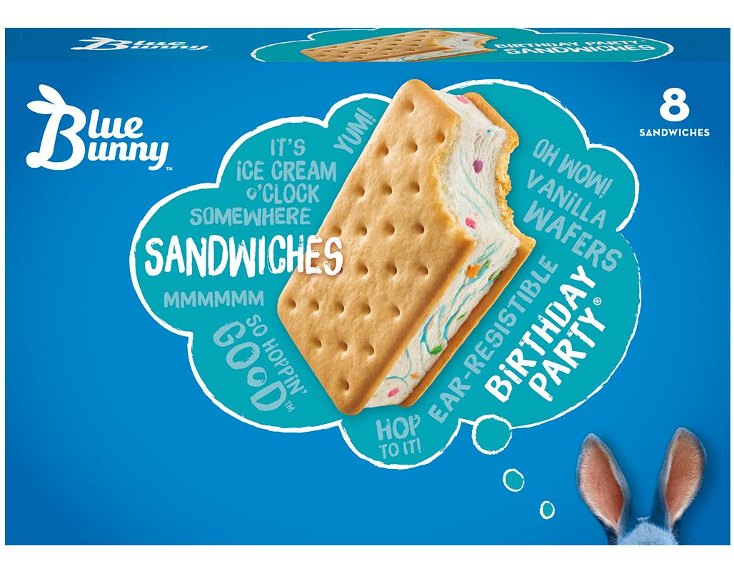 Miraculous Blue Bunny Birthday Party Ice Cream Sandwich Easy Home Meals Funny Birthday Cards Online Elaedamsfinfo