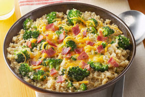 Quinoa with Broccoli, Cheese & Bacon
