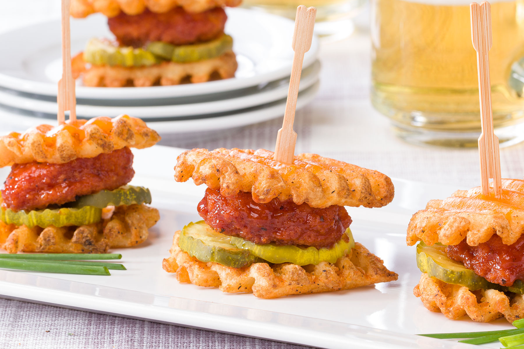 MFTK BBQ Chicken Waffle Sliders