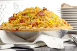 Sky High Macaroni Corn and Bacon Pie