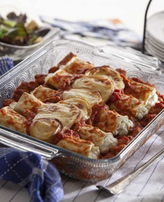 celentano cheese manicotti with italian style meatballs, marinara and smoked mozzarella