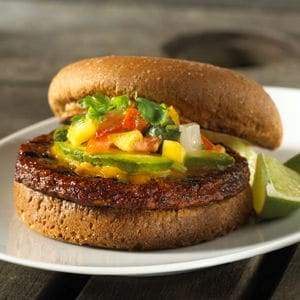 MorningStar Farms Black Bean Burger Peach Pico de Gallo