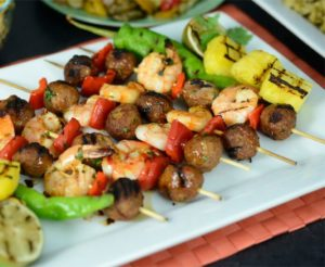 Rosina Grilled Pinapple Chorizo Meatball Shrimp Skewers