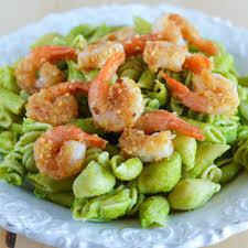 Stonyfield Garlic Shrimp over Pesto Pasta