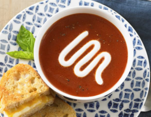 Daisy Tomato Soup with Roasted Red Peppers and Garlic