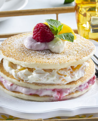 Peach Melba Pancake Stack