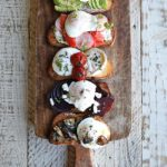 gourmet breakfast toast with poached eggs