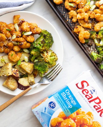 SeaPak Sheet Pan Orange Shrimp with Broccoli and Sweet Potatoes