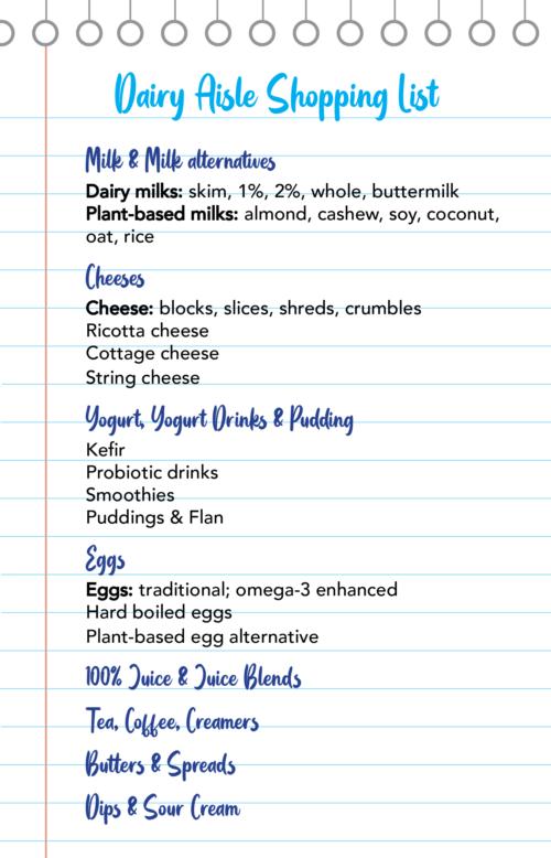 Dairy Aisle Shopping List Image